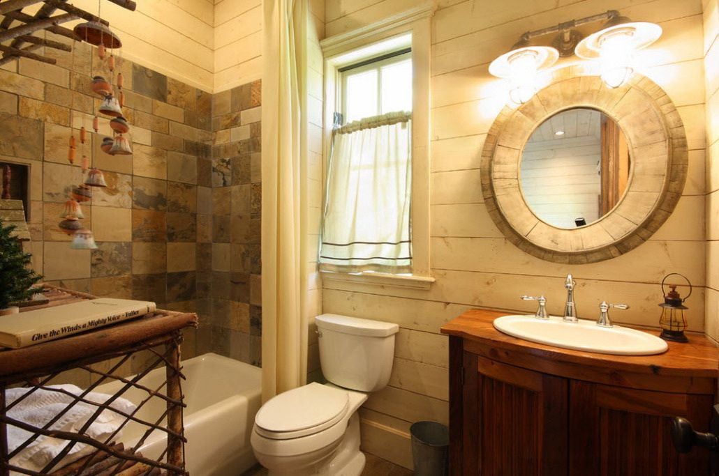 A Breathtaking Natural Stone Wall Design For Classic Bathroom With ...