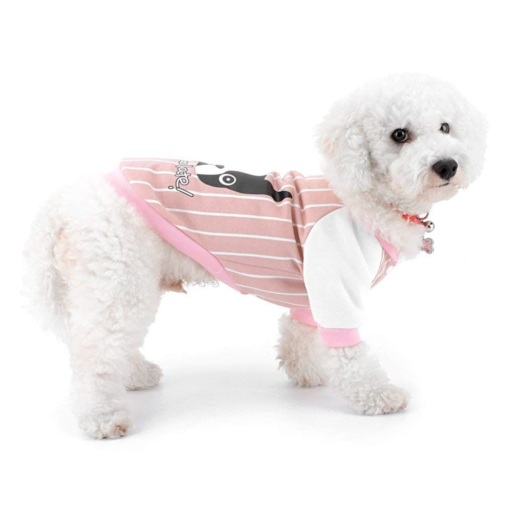 Ranphy Small Dog Baseball Sweatshirt Pet Stripe Shirt Puppy