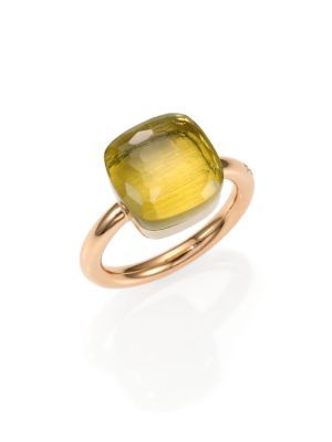 POMELLATO Nudo Mini Faceted Lemon Quartz Ring, Size 54