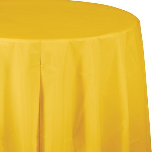School Bus Yellow Party Supplies Bulk Tableware My Paper Shop Round Table Covers Plastic Table Covers Table Covers