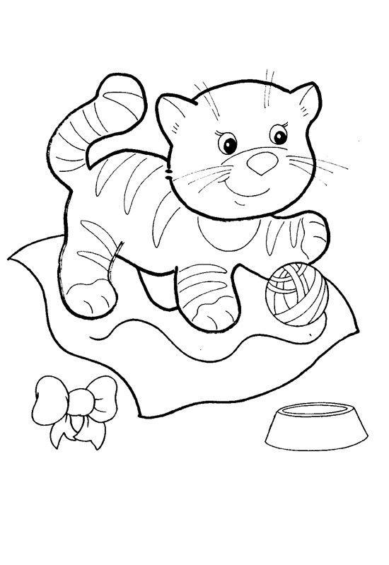 Котёнок - Раскраски для малышей | Раскраски, Детские ...