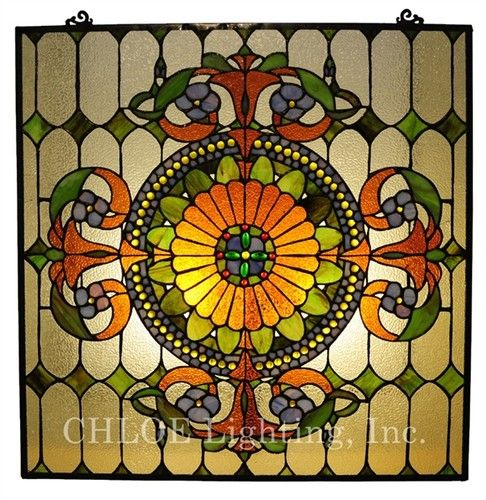 Victorian Medallion Stained Glass Window Panel Tiffany Style Gems Suncatcher