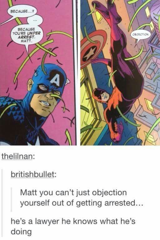 comic daredevil objection - Google Search Fangirl Stuff - i have no objection