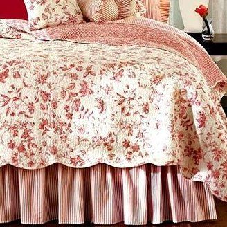 I had a red and white toile bedroom once with red walls, loved it ...