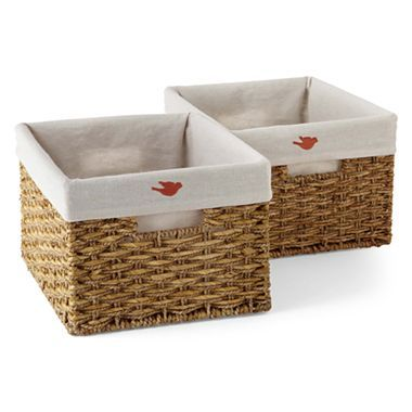 Michael Graves Design Natural Woven Lined Storage Basket