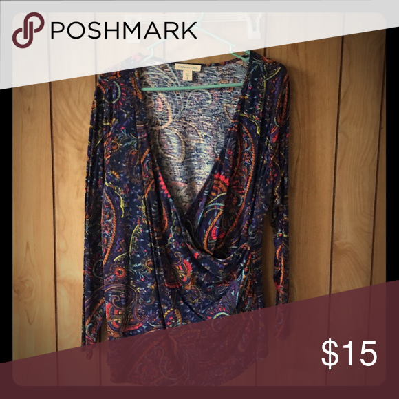 Top Multicolored drape top Coldwater Creek Tops Blouses