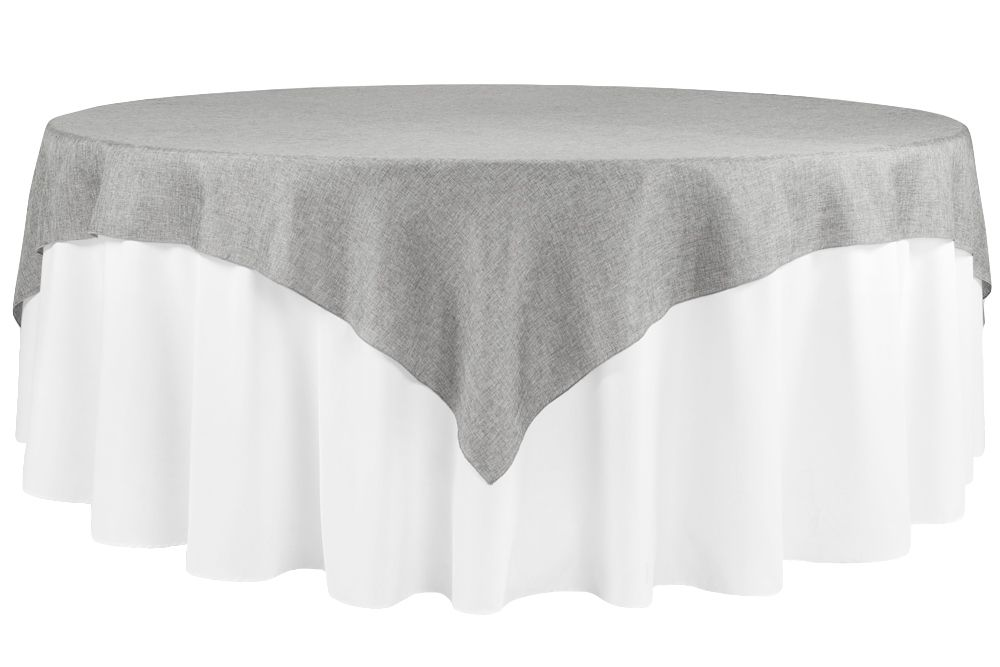 Faux Burlap Table Overlay Topper Tablecloth 85 X85 Square Gray