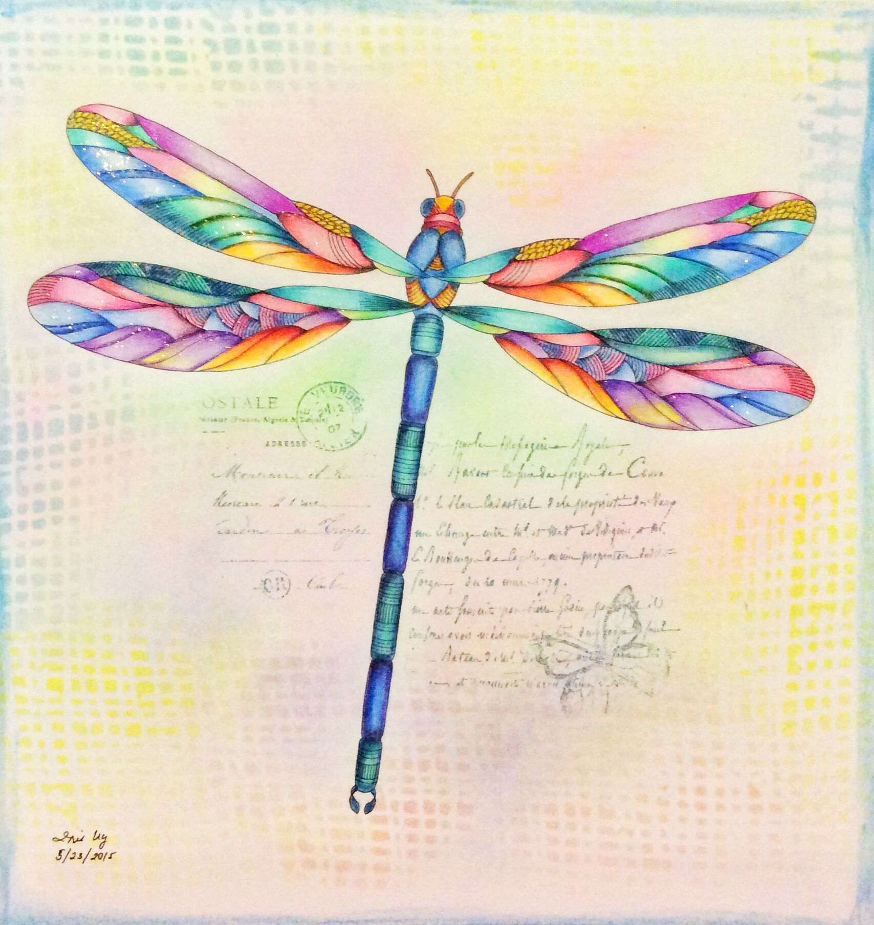 Coloring in dragonflies - Dragonfly From Animal Kingdom By Millie Marotta