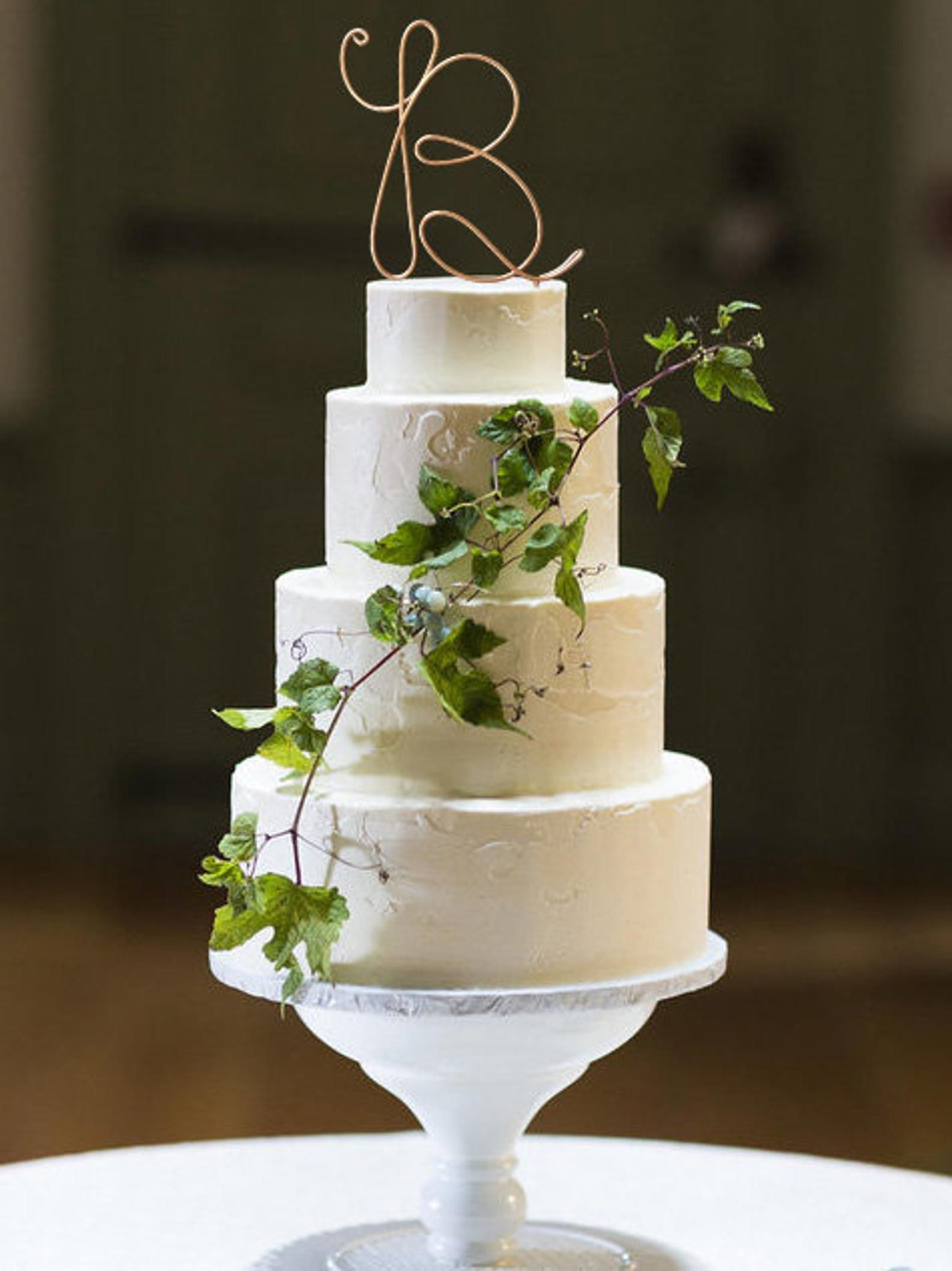 Monogram wire wedding cake topper rustic chic initial