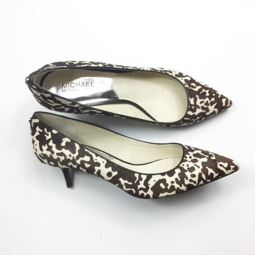 Michael Kors Leather Animal Print Kitten Heels Fashion Clothing Shoes Accessories Womensshoes Heels Ebay Kitten Heels Heels Kitten Heel Pumps