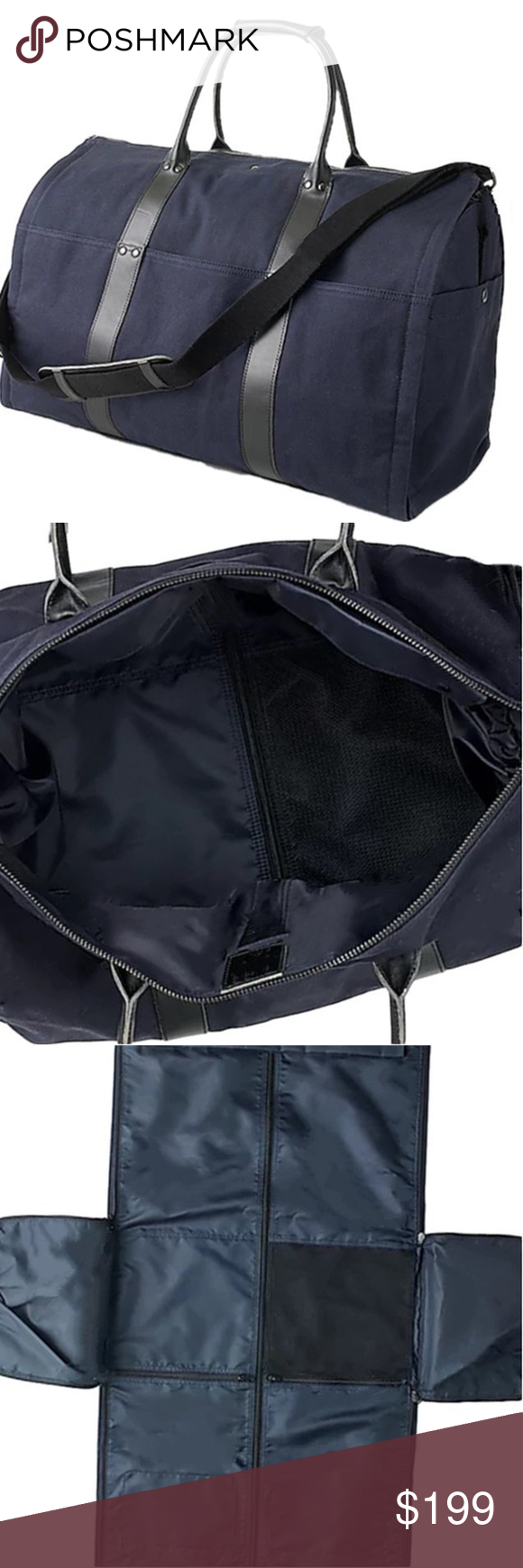 J Crew Ludlow Garment Duffle Bag Navy Black H3260 248 New 13 1 2 H X 21 3 4 W 11 D 7 Handle