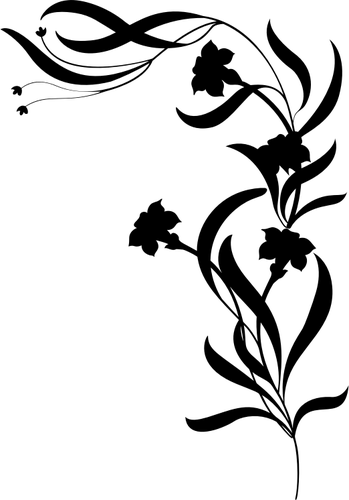 Bunga Di Silhouette Domain Publik Vektor Bunga Hitam Dan