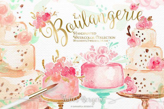 Panadería imágenes prediseñadas acuarela pasteles de boda ...