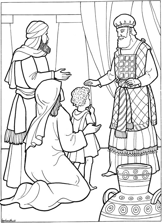 Hannah presents Samuel to God, keeping her promise to