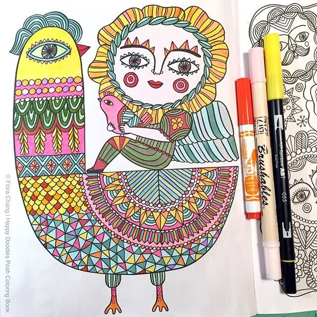 A Finished Page From Happy Doodles Posh Coloring Book By Flora Chang Link
