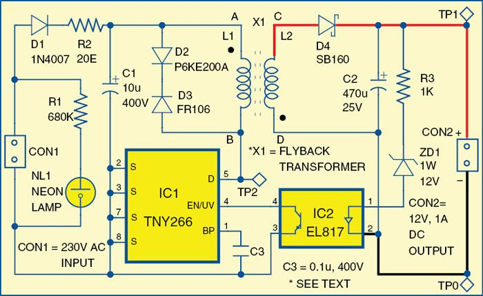 Simple 12v 1a Smps Electronics Circuit Circuit Circuit Diagram