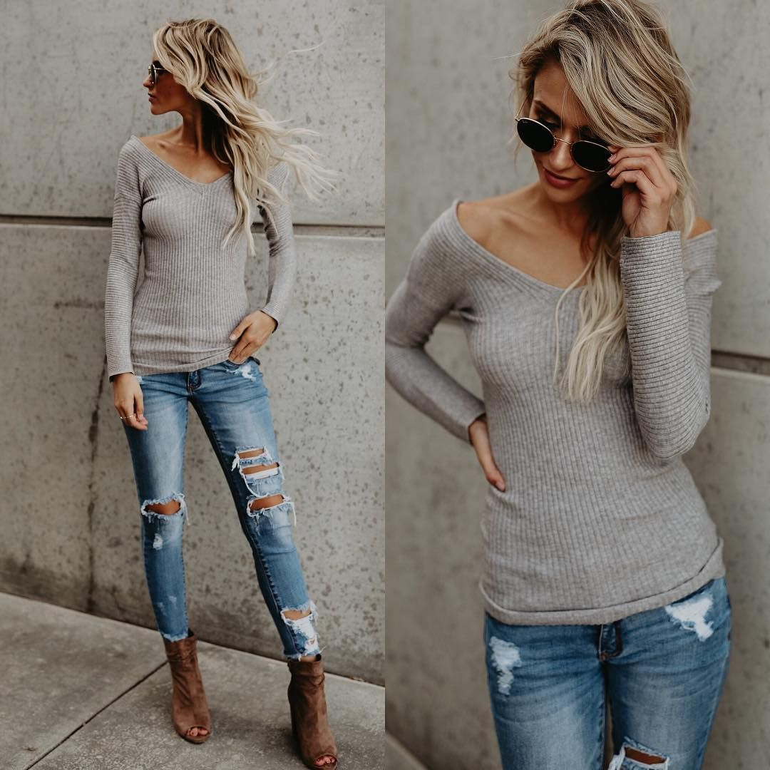 Ripped jeans flannel shirt   Perfect Outfits for Cold Fall Days  Winter  Clothes and Winter