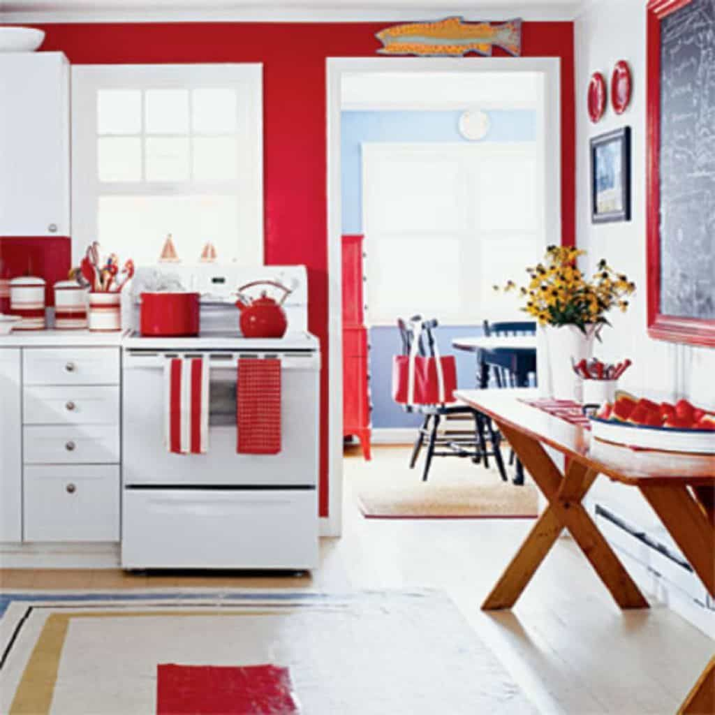 Kitchen With Red Accessories And White Range   Red kitchen decor ...