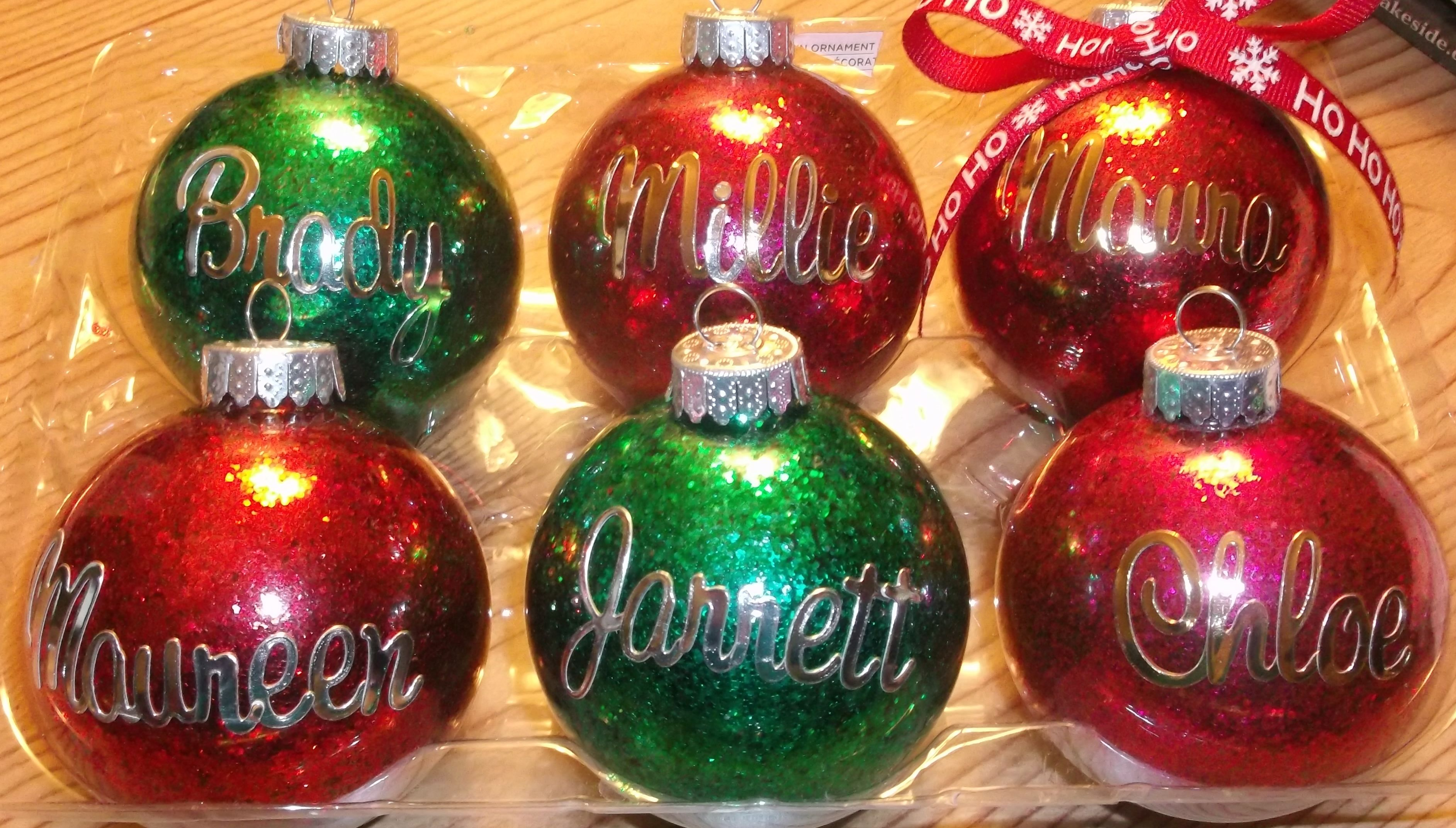 DIY Ornaments for those hard to find names. Glitter on