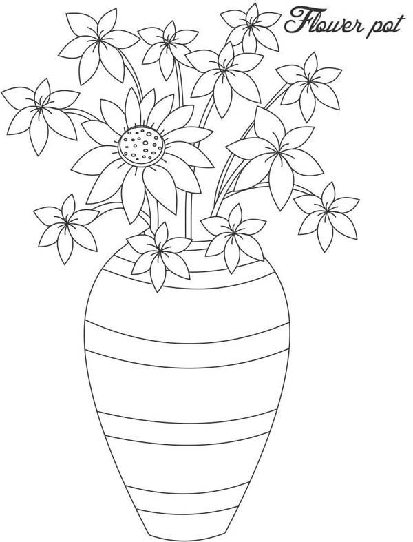 Dibujos Para Colorear Floreros 28 En 2020 Florero Dibujo