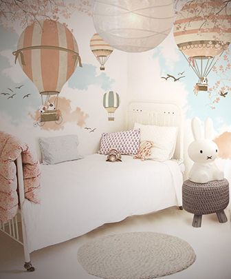 Kids Room Hot Air Balloon Theme Wallpaper Childrens Bedrooms Baby Bedroom Girl Room