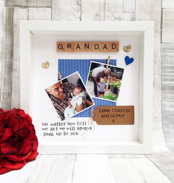 Grandad Photo Frame- Fathers Day Gift - Personalised Scrabble Frame - Two Photos - Grandad Gift