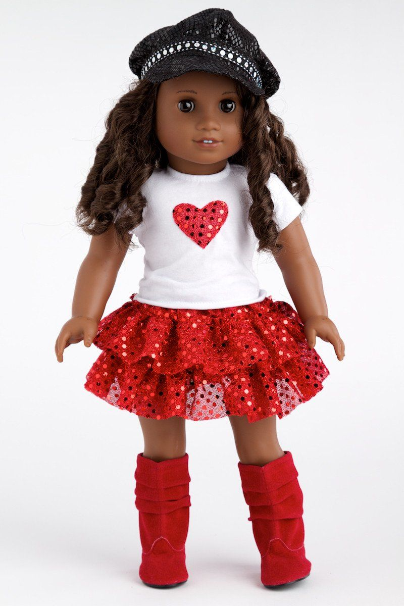 "Red Quilted Jacket /& Checked Ruffled Skirt for 18/"" American Girl Doll Clothes"