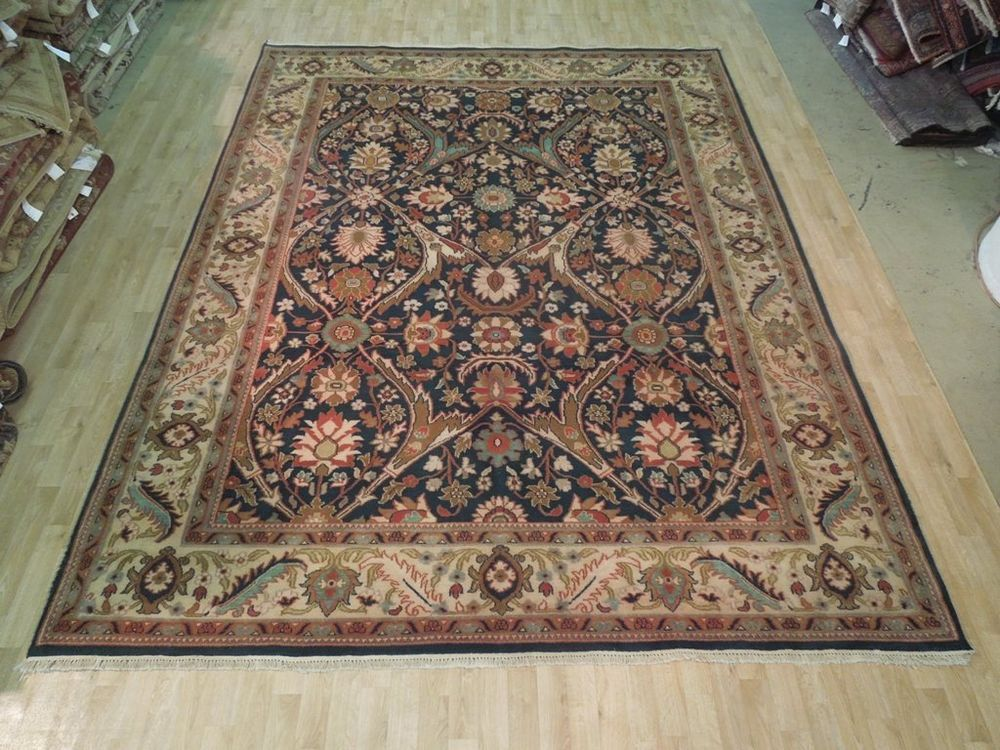 Navy Blue Floral Area Rug 100 Hand Woven 9 X 12 Jaipur Quality New Carpet Floral Area Rugs New Carpet Area Rugs