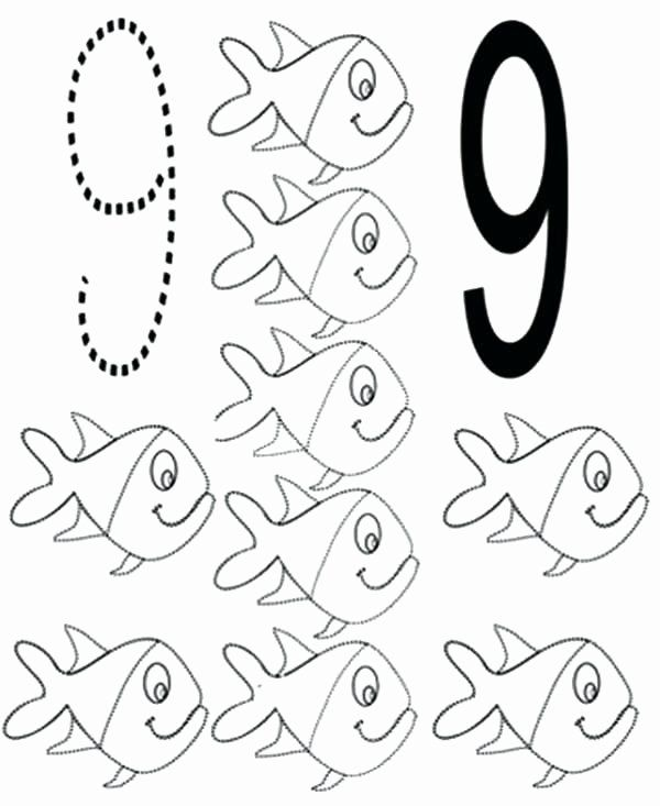 Number 9 Coloring Pages In 2020 Fish Coloring Page Coloring