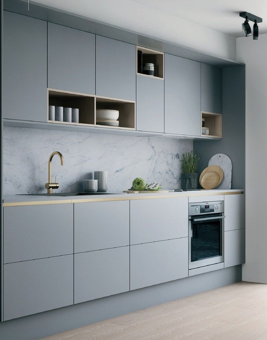 Light Grey Kitchen With Marble Backsplash And Grey Cabinets Accents In Gold Trendy Kitchen Backsplash Scandinavian Kitchen Design Grey Kitchen Cabinets