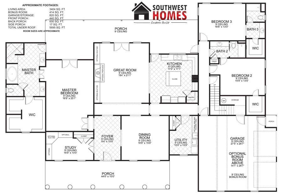 2100 Up Sq Ft Floorplans Southwest Homes New Homes Houston Tx Floor Plans Custom Homes House Plans