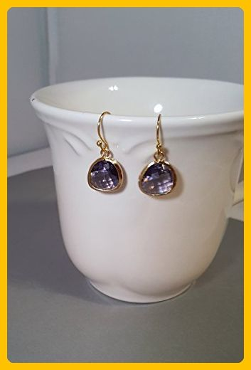 Gold Amethyst drop earring handmade - Wedding earings (*Amazon Partner-Link)