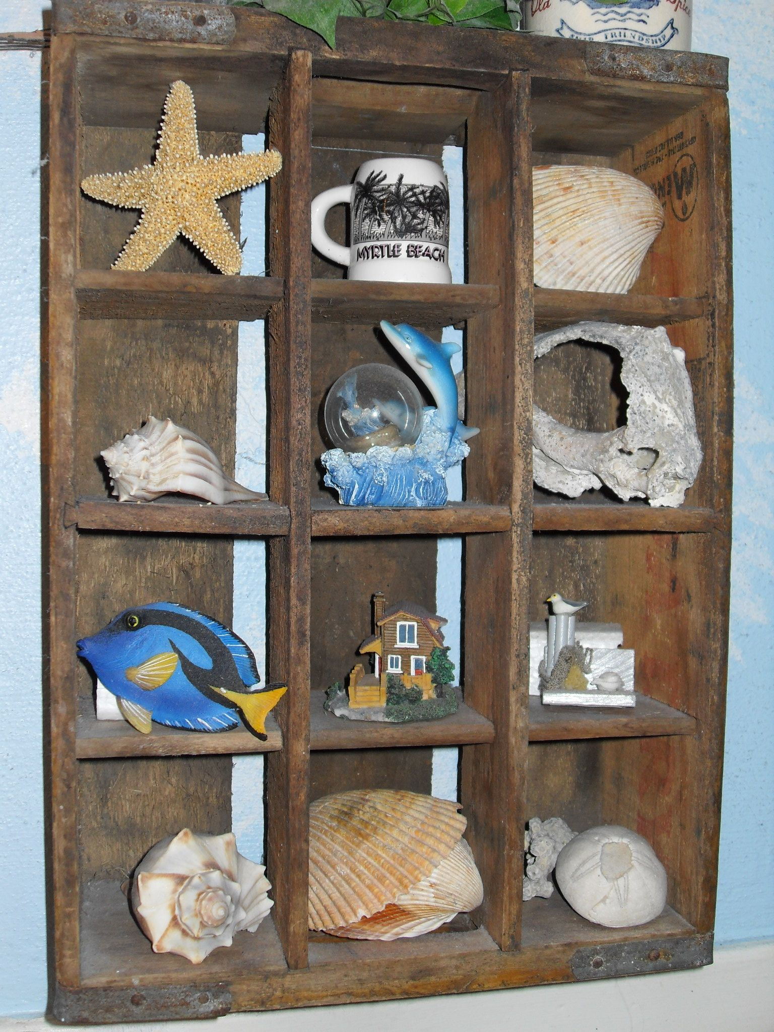 Antique Pop Crate From My Dad S Old Restaurant Held Beach Knick Knacks In Bathroom Time To Give It A New Purpose And Room