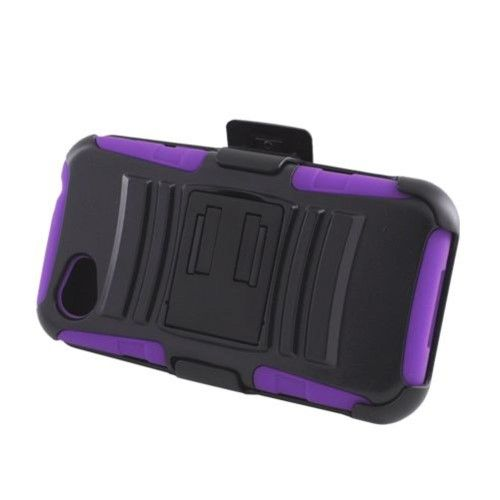 Insten Advanced Armor Dual Layer Hybrid Stand PC/Silicone Holster Case Cover for HTC First Black/Purple