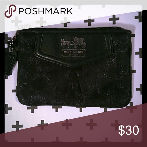 Coach Coin Purse Black Coach Coin Purse, silver markings on bag and coach symbol is slightly faded. Coach Bags Wallets