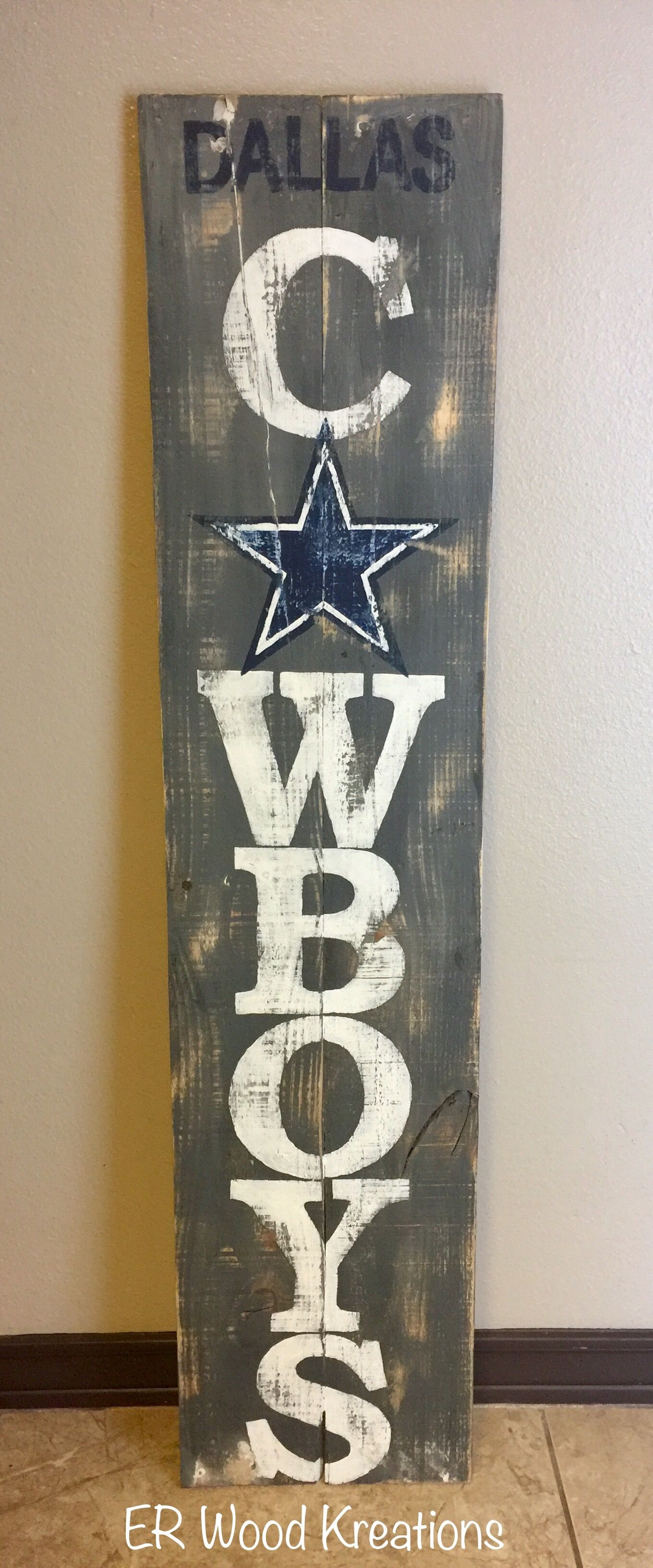 dallas cowboys verticle sign wooden porch sign rustic sign