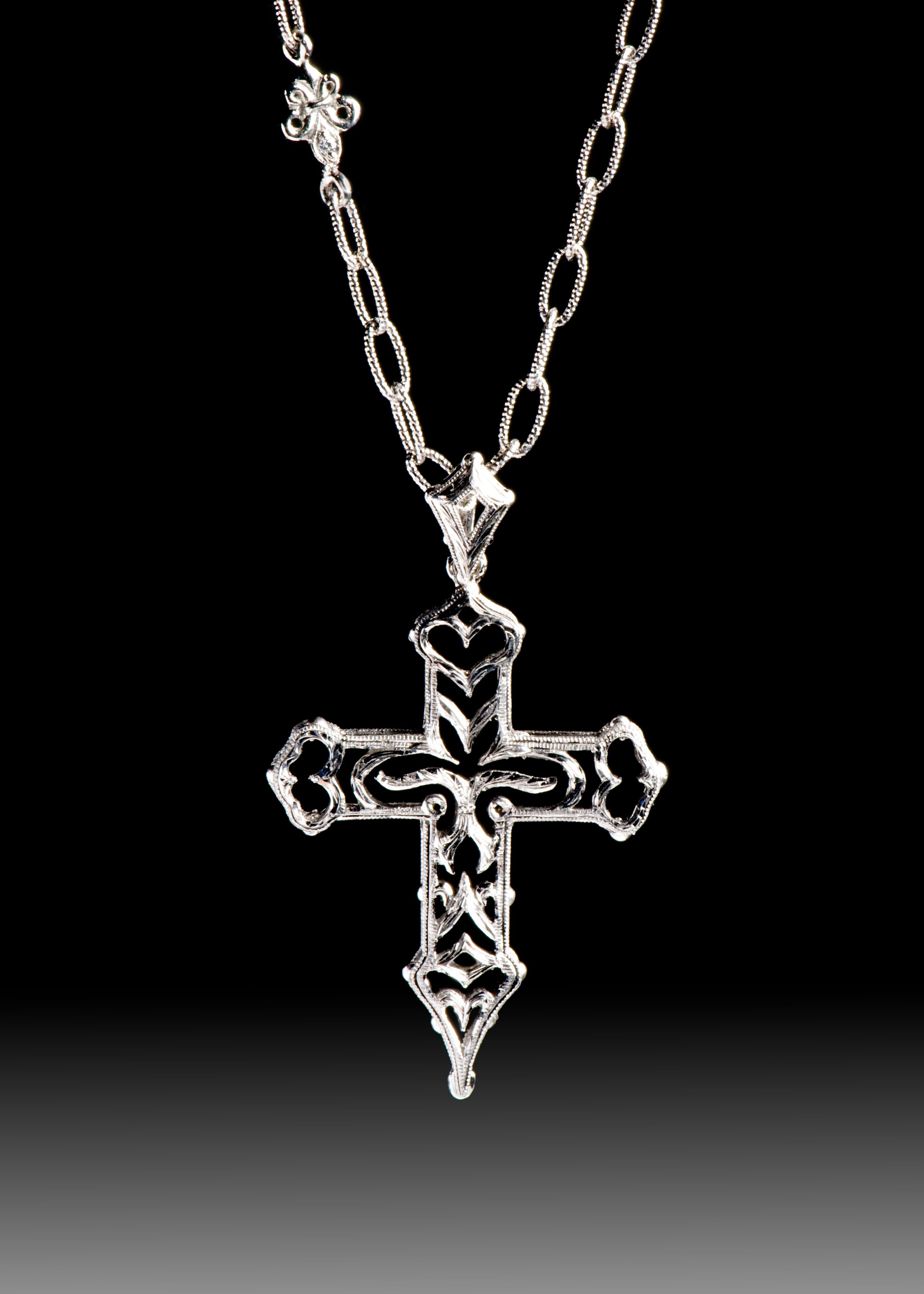 JPratt Designs: Custom designed and custom created ornate cross necklace with a custom chain