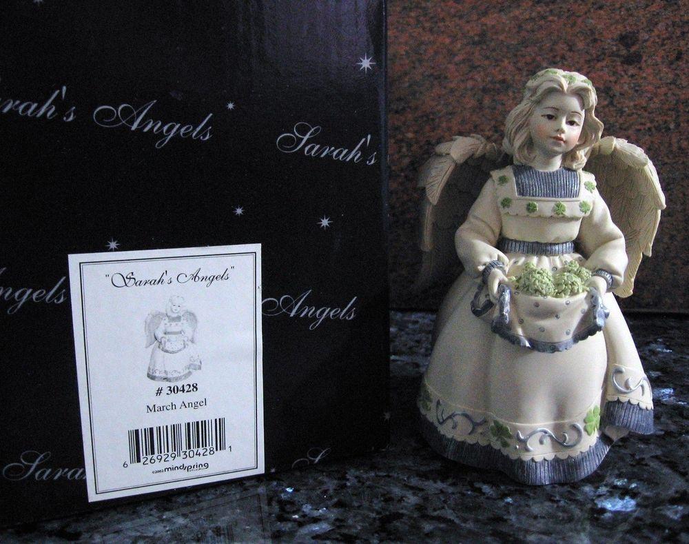 "Angel Month-"" March ""-Lisa-Stand Figure-Green Shamrocks Details Design-Id.30428"