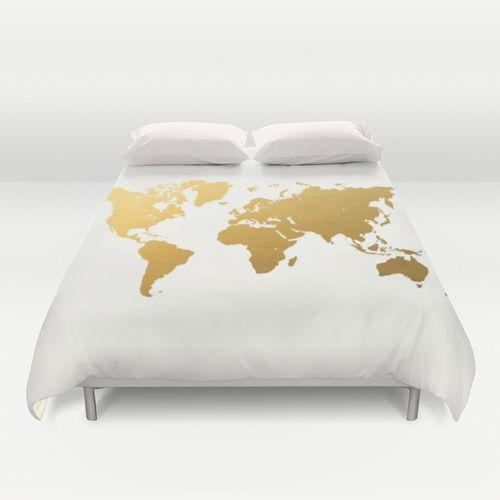 Gold Foil World Map Duvet Cover By Samantha Ranlet Map Duvet Cover Duvet Covers Map Bedding