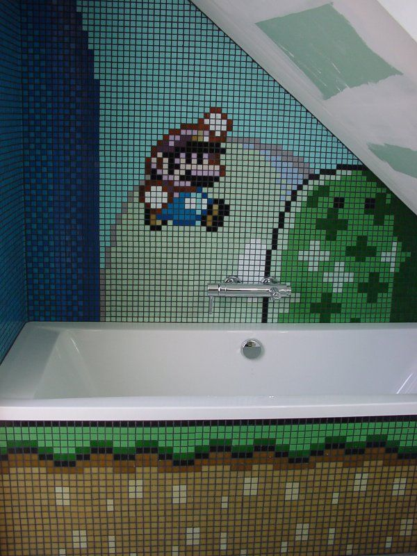 Mario Bathroom Video Game Decor Nintendo Room Game Room