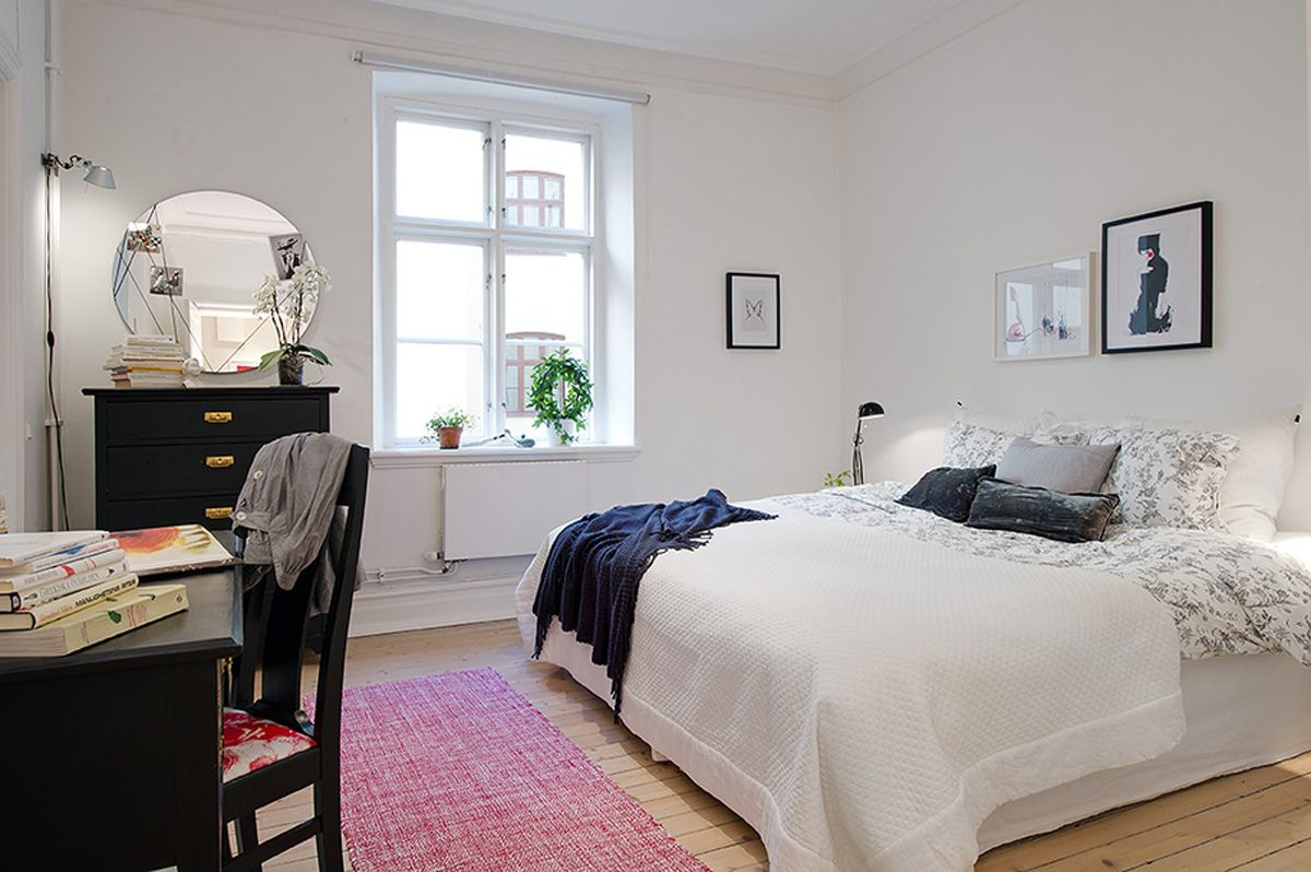 Charmant White Decorating Ideas And A Touch Of Bright Color Look Very Simple,  Contemporary And Attractive · Scandinavian BedroomScandinavian ApartmentScandinavian  ...