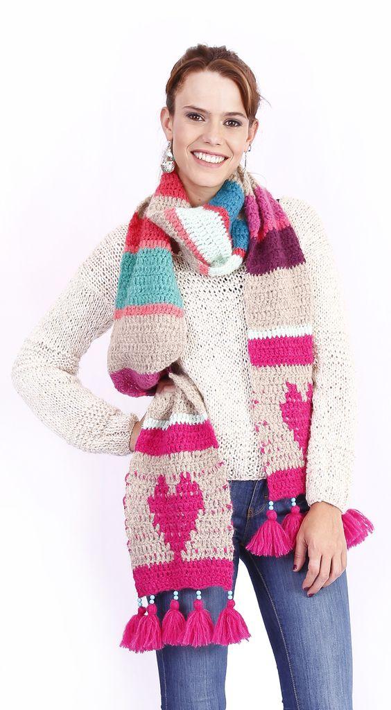 bufanda corazones | crochet | Pinterest