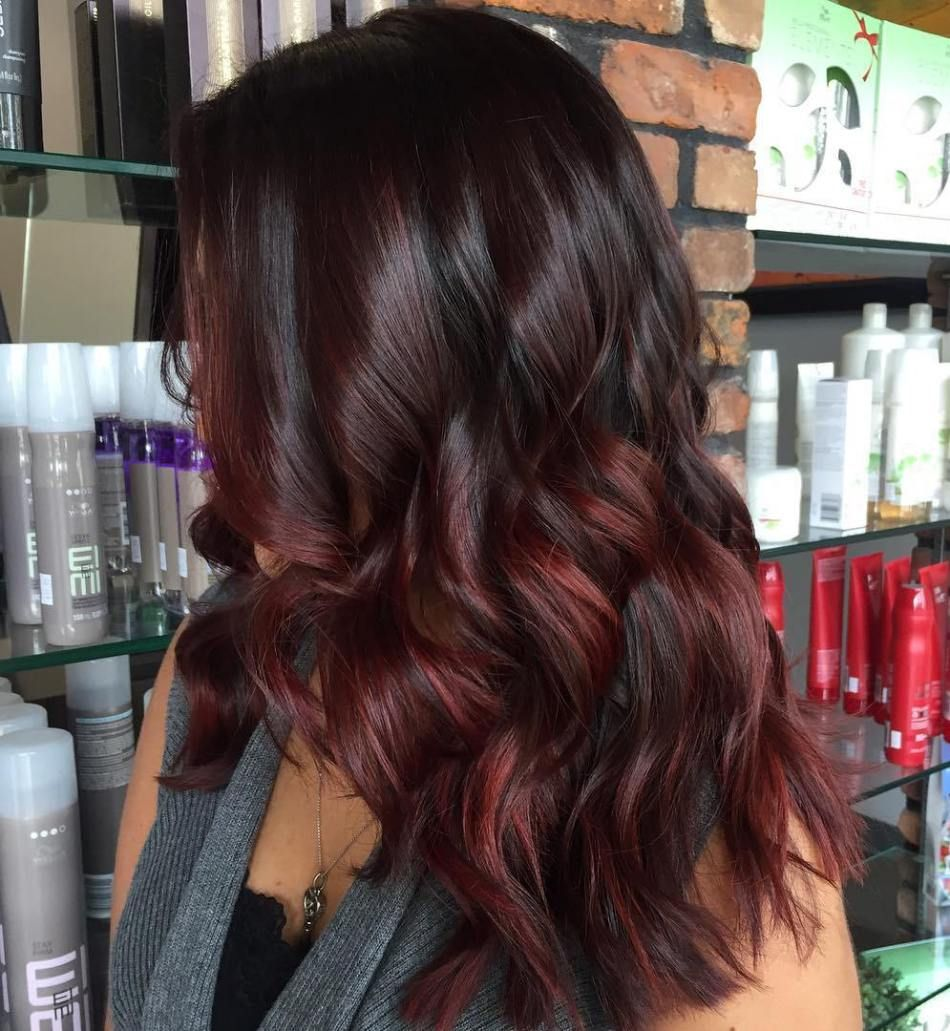 45 Shades Of Burgundy Hair Dark Burgundy Maroon Burgundy With Red Purple And Brown Highlights Burgundy Hair Wine Hair Color Wine Hair