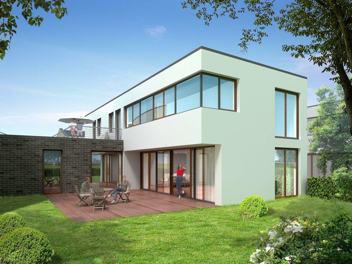 Neues haus front design einfamilienhaus im bauhausstil  traumhaus  pinterest