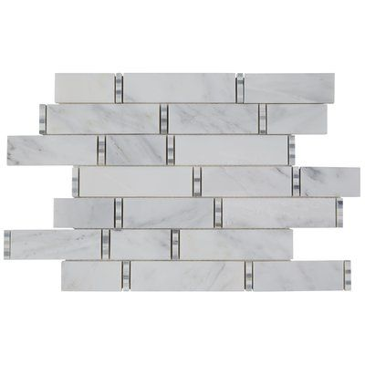 Itona Tile Harrison Random Sized Marble Mosaic Tile In First Snow