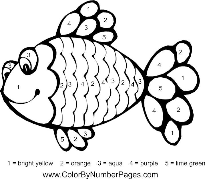 fish color by number page Color by number Rainbow fish