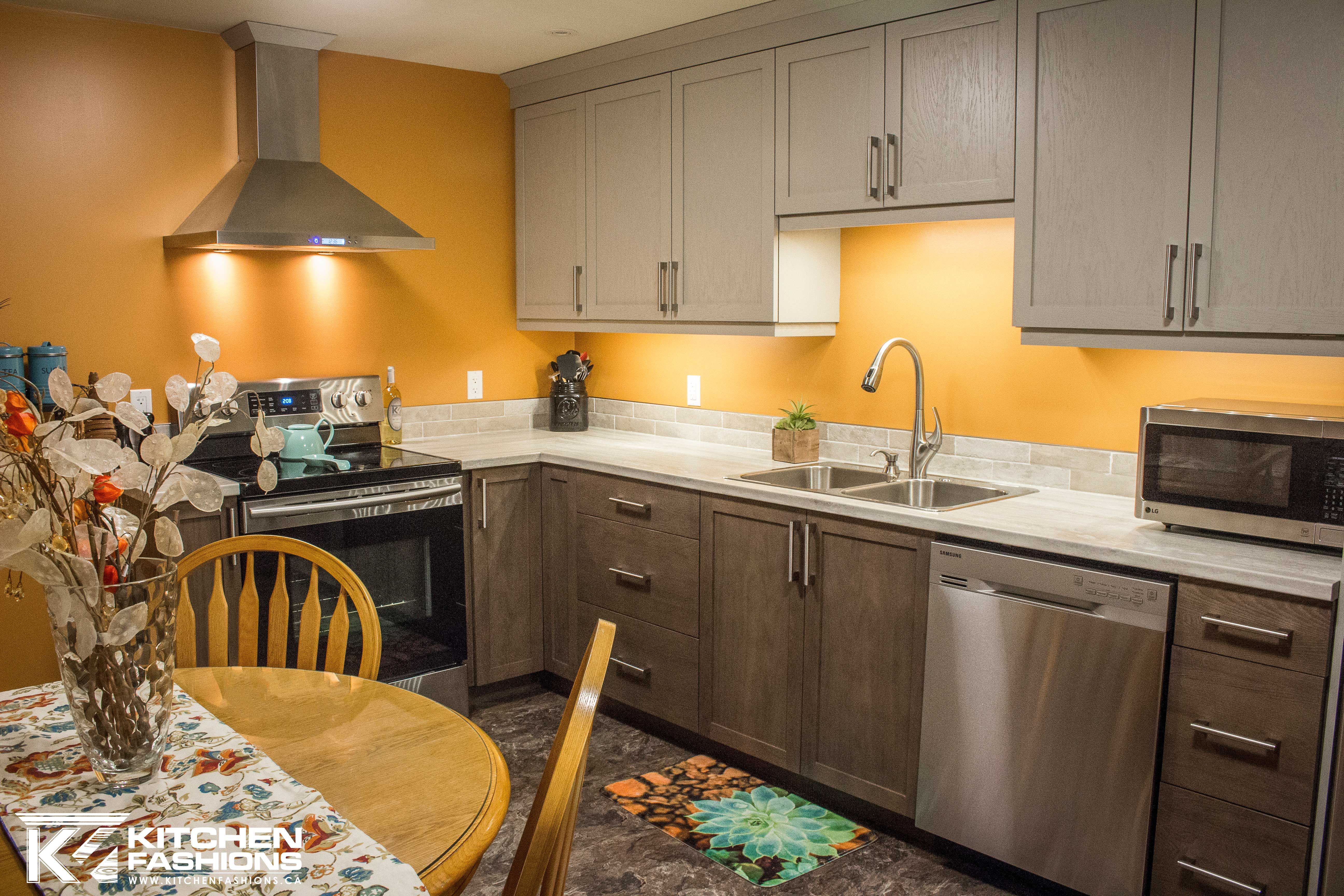Orange Walls Grey And Brown Cabinets Kitchen Inspirations Brown Cabinets Contemporary Cabinets
