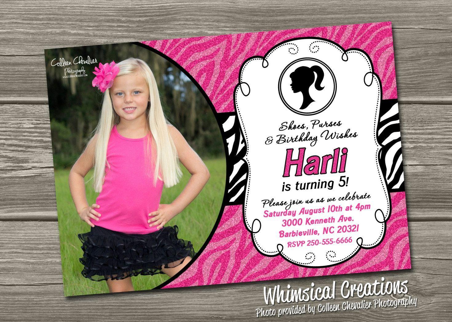 customised birthday invites | Tarjetas | Pinterest | Barbie ...