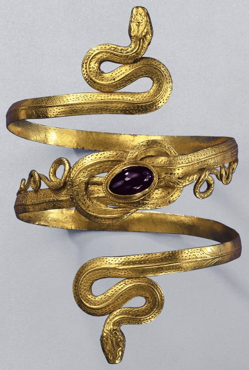 Gold snake bracelet with garnet from the GreekHellenistic period