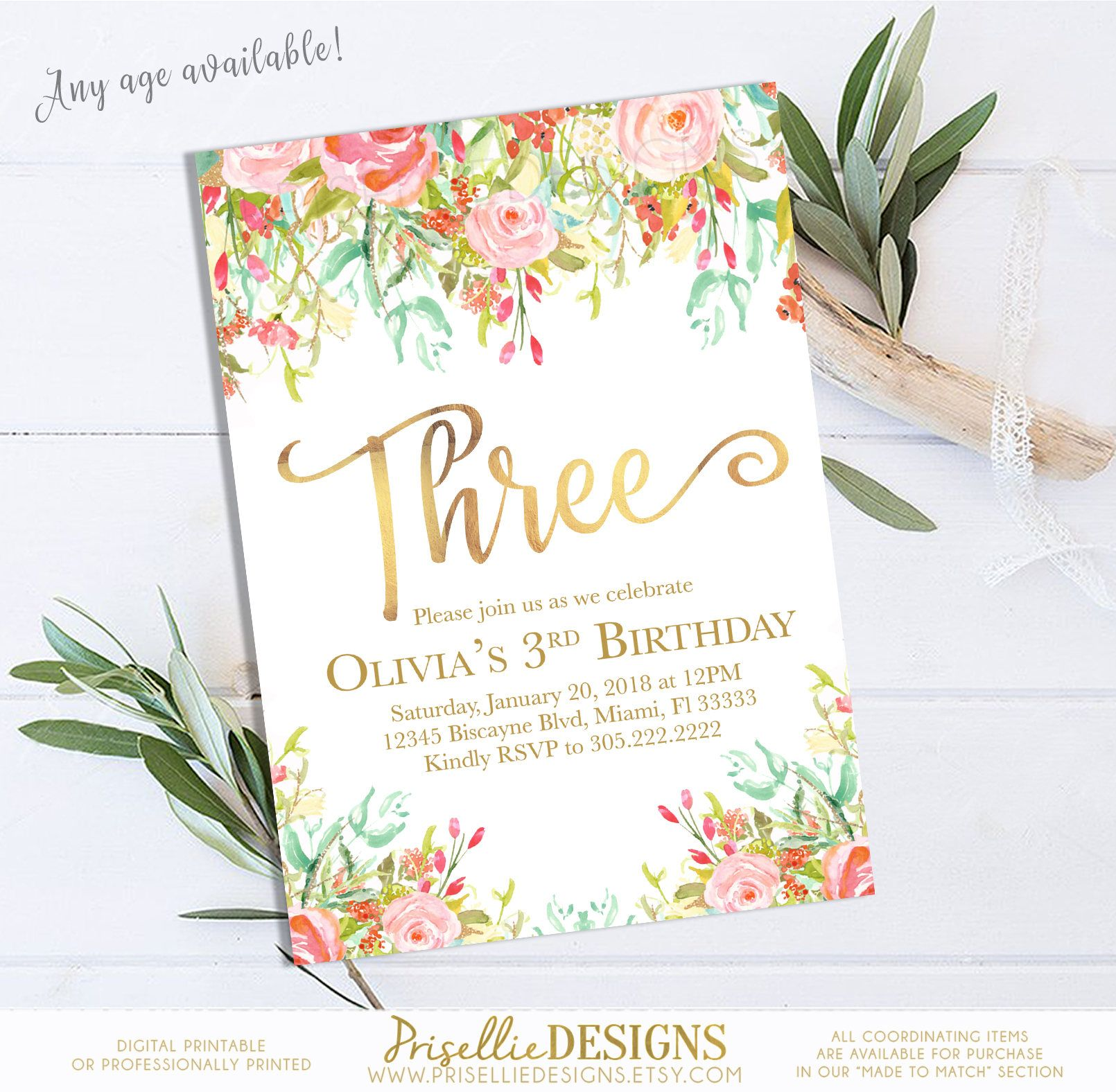 floral girl birthday invitation 3rd birthday invitation girl boho